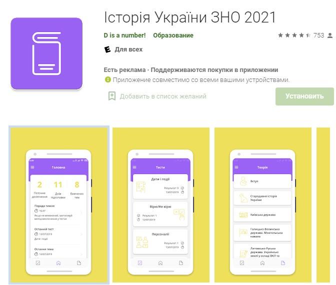 зно 2021 Історія Укр додаток